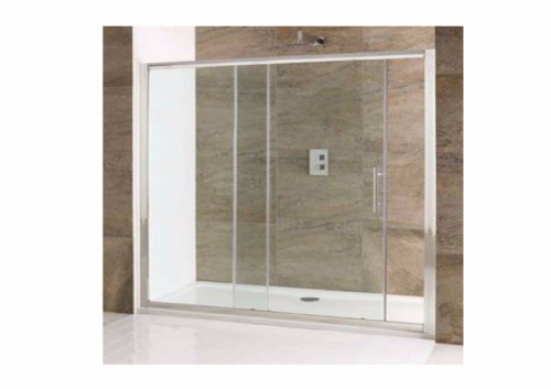 Volente 1500mm Single Slider Shower Door,Polished Silver, Easy Clean Glass - Various Sizes